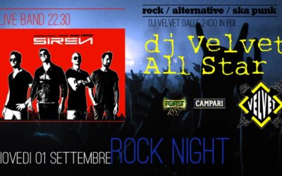 Rock Night giovedì 1 Settembre 2016